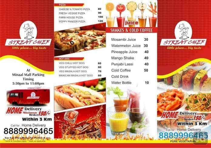 Food Menu List | Streat Chef Govindpura Bhopal Food Menu Card Justdial