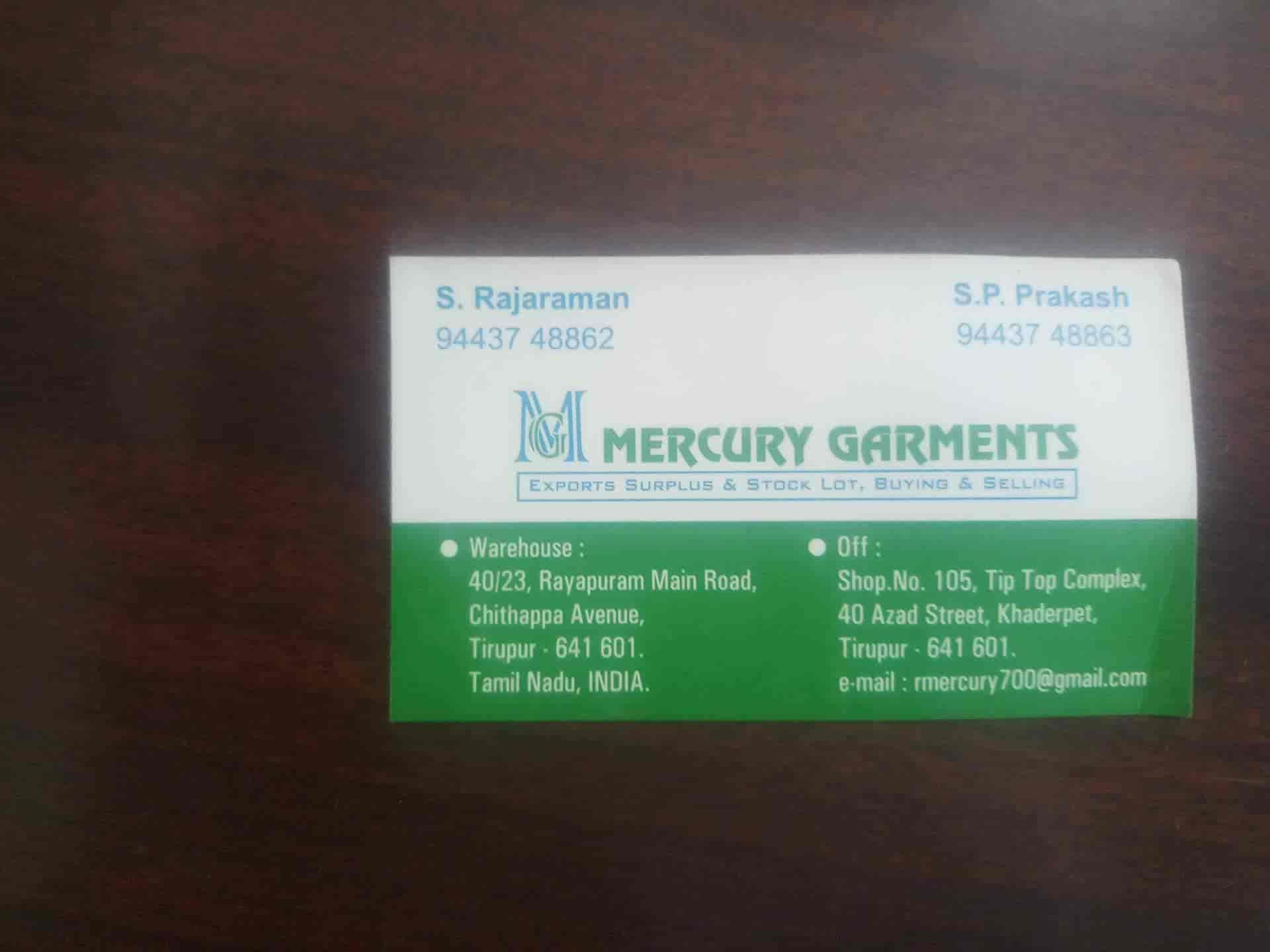 Mercury Garments, Khaderpet - Readymade Garment Wholesalers